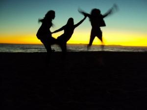 gratitude on the beach at sunset